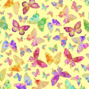 Butterflies on Yellow Metallic