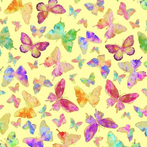 Butterflies on Yellow Metallic