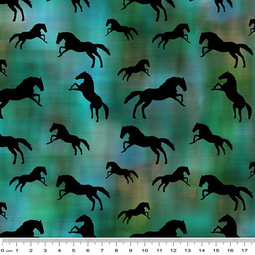 Painted Horse 2 - Silhouette Teal