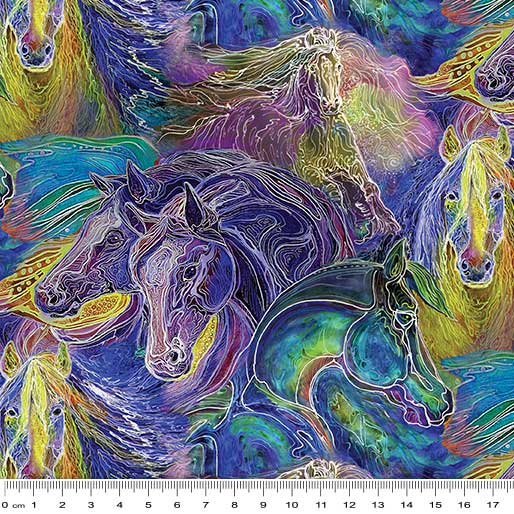 Painted Horse 2 - Horses Teal Yellow Purple