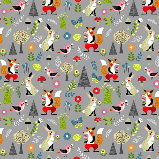 Willow - Foxes & Rabbits on Grey